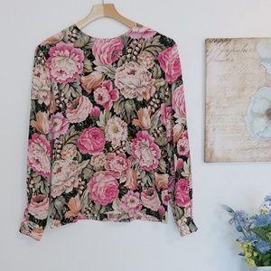 Dana Buchman silk floral blouse